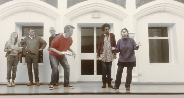 The cast of Puss in Boots in rehearsal