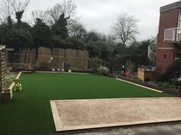 The new Boules court and Lawn