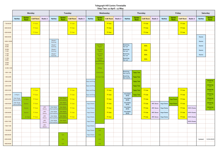 THC Timetable - April 12 - May 17